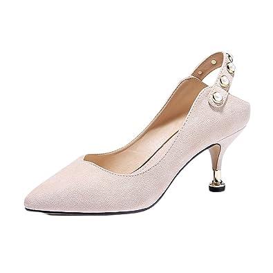 70351b39d689 Frau Nude High Heels Mode Sexy Arbeit Court Schuhe Hochzeit Katzen Schuhe  Party NachtclubOff-White-6.5cm-EU 35... - associate-degree.de