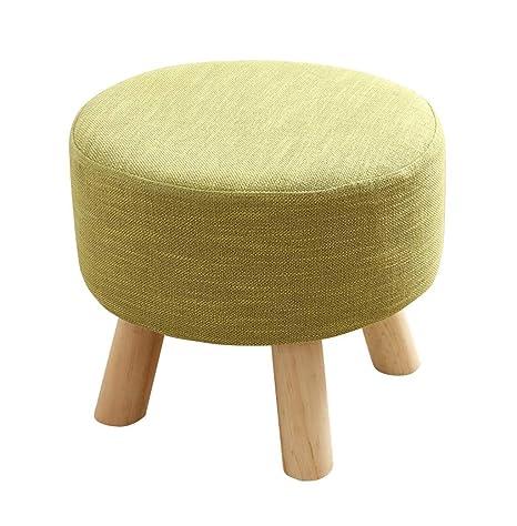 Surprising Amazon Com Round Wooden Large Footstool Upholstered Ottoman Creativecarmelina Interior Chair Design Creativecarmelinacom