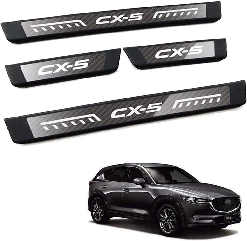 Stainless Steel Car Welcome Styling Scuff Plate Accessories,Black LGNB 4 Pcs Car Threshold Bar Door Sill Protector Trim for Mazda Cx 5 Cx-5 Cx5 2017 2018 2019 2020