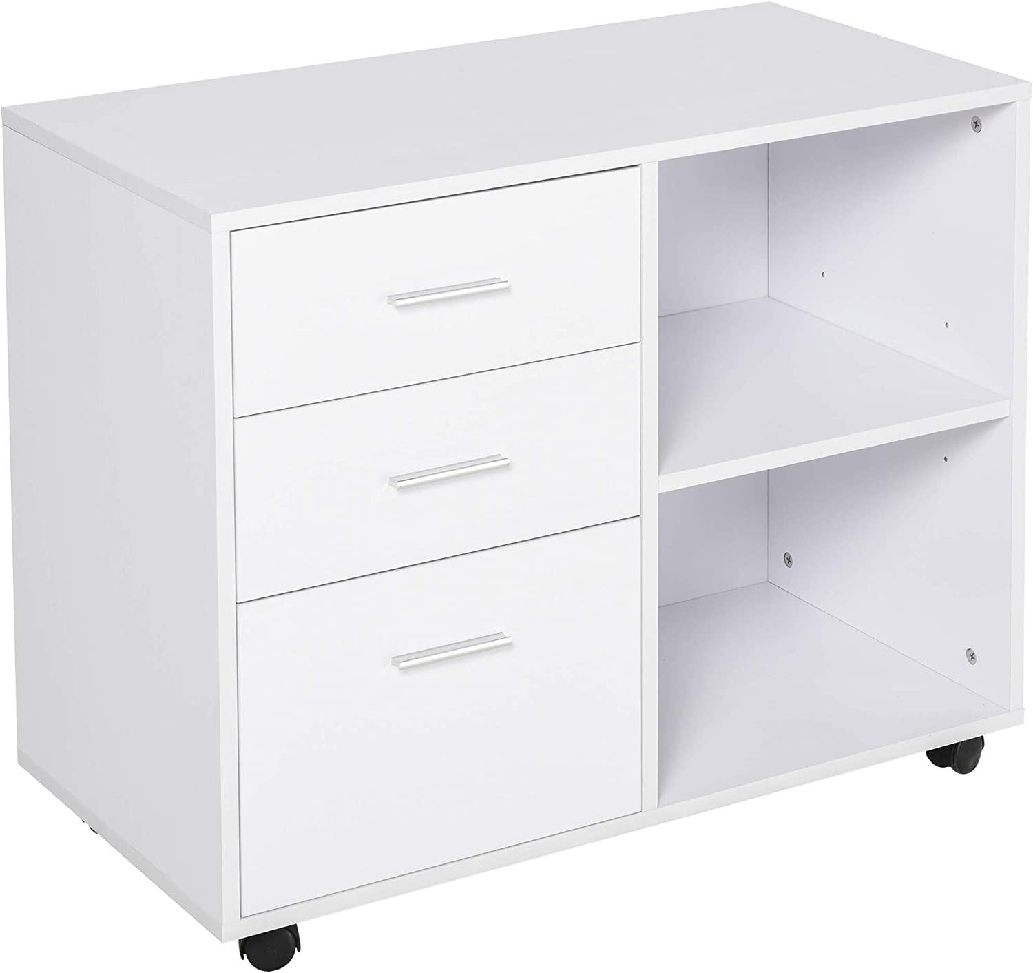 HOMCOM Indoor Office Filing Cabinet with 3 Storage Drawers, Open Shelving, 4 Caster Wheels for Easy Rolling, White