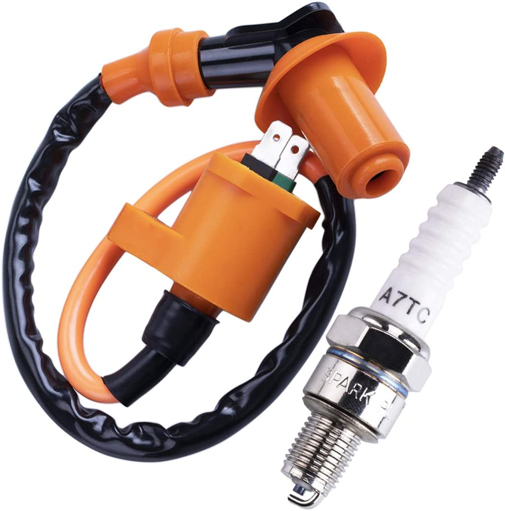 CNCMOTOK High Performance Racing Ignition Coil Electrode Spark Plug for Chinese 50cc 125cc 150cc Gy6 Moped Scooter ATV Go Kart