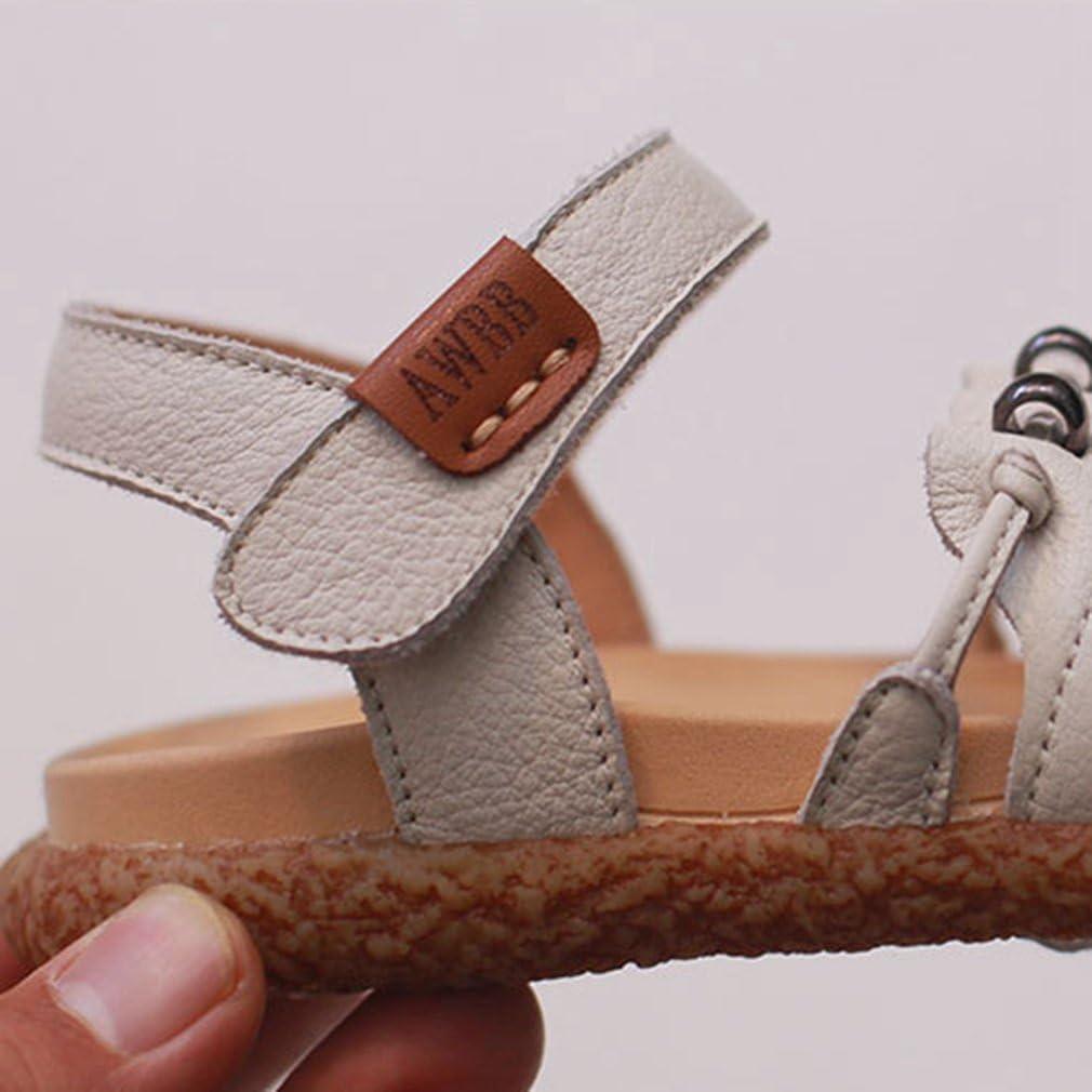 Girls Genuine Leather Open Toe Sandals Summer Outdoor Comfort Flat Shoes Toddler//Little Kid