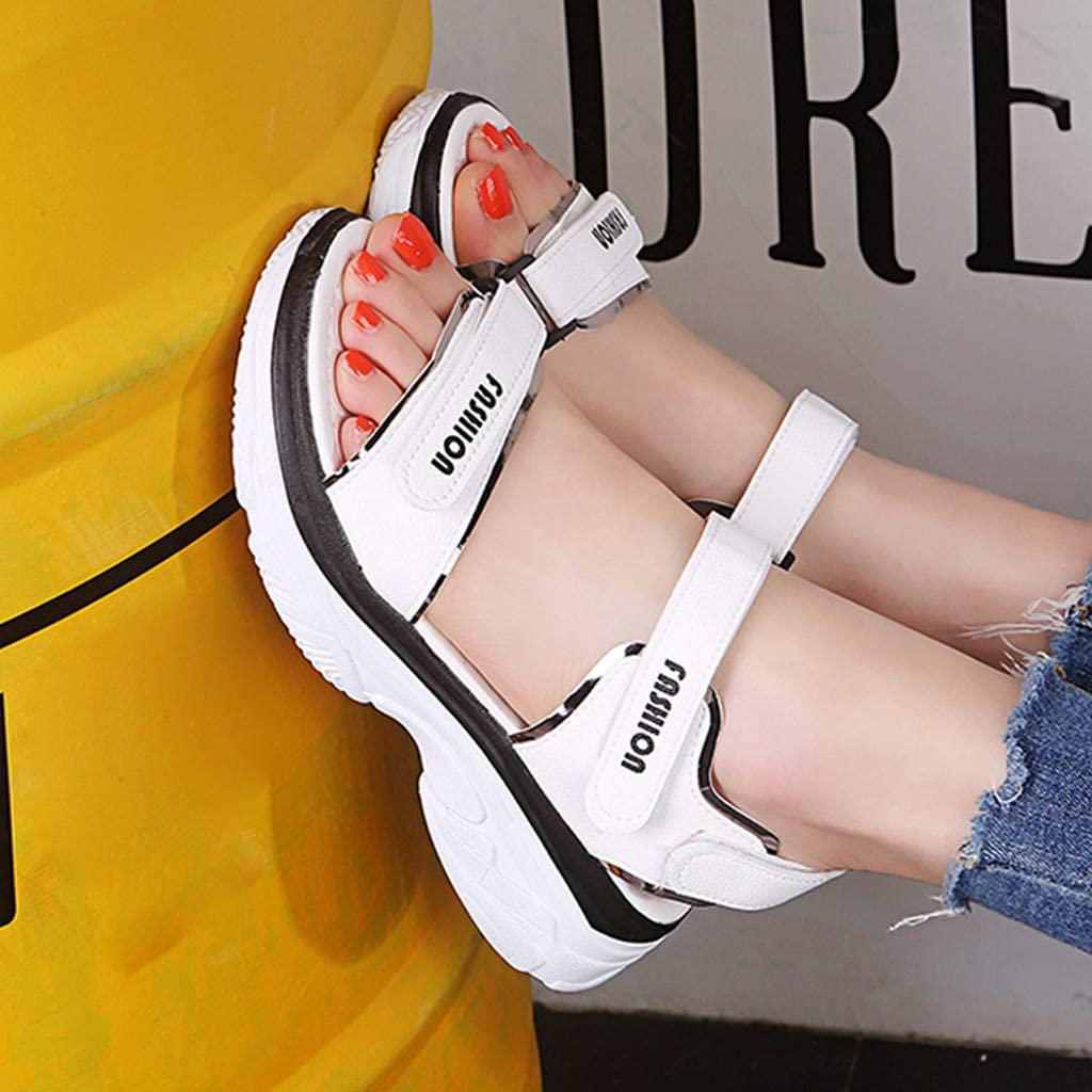 Clearance Sale!NDGDA Women Sandals Casual Sports Sandals Flats Thick-Soled Beach Shoes Open Toe Shoes