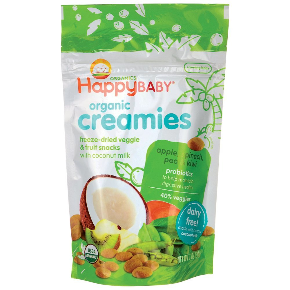 Happy Creamies Organic Snacks - Apple Spinach Pea Kiwi - Case of 8 - 1 oz Honest Green 358
