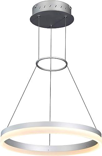 VONN VMC31630AL Tania 18 , AdjustableSuspension Fixture, Modern Circular Chandelier Lighting in Silver Integrated LED, 17.75 L x 17.75 W x 120 11.81 H