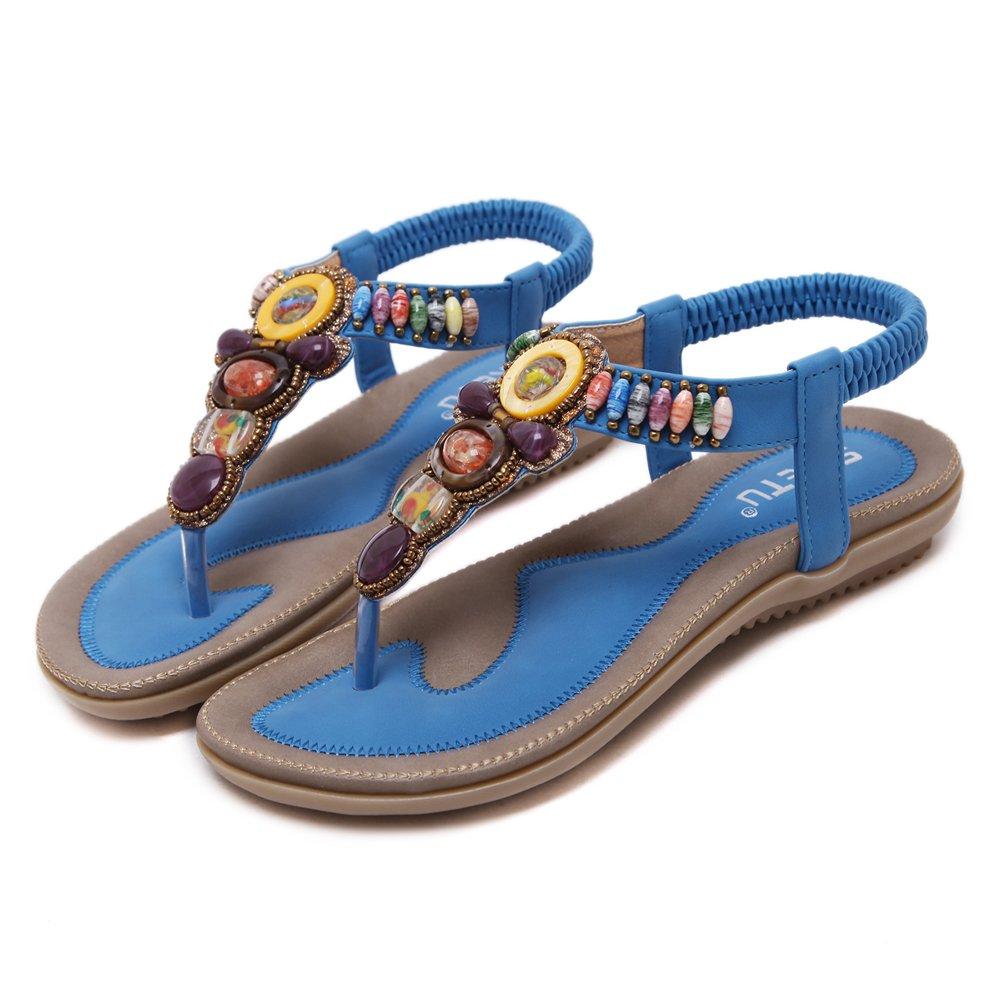 51a312d6e61e Super Lee Damen Zehentrenner Sandalen Bohemian Strass Flach Sandaletten  Sommer Strand Schuhe in Größe 35-44  Amazon.de  Schuhe   Handtaschen