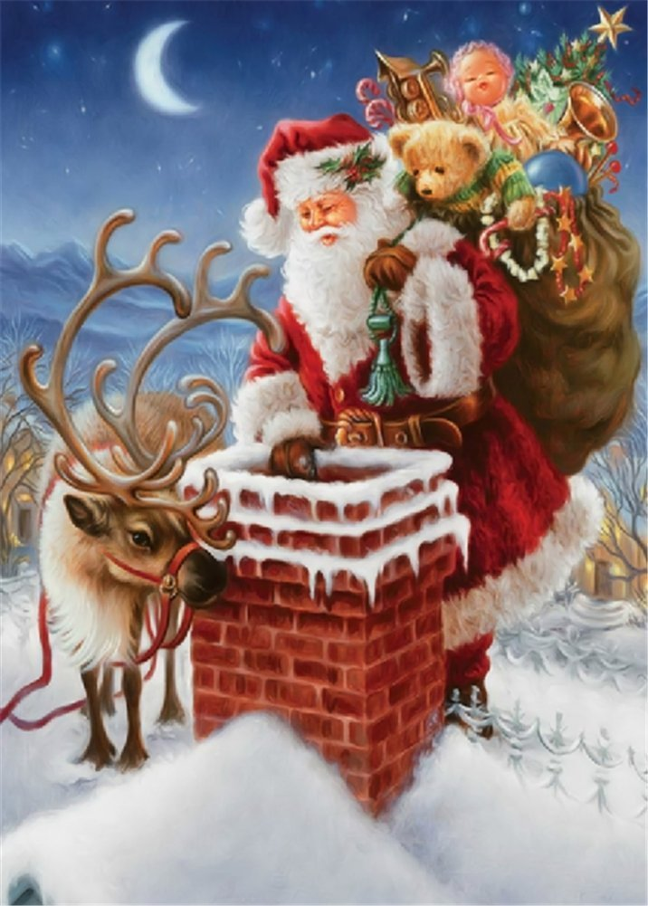 Santa Claus Elk Chimneys Christmas Gifts 30*40 YEESAM ART New 5D Diamond Painting Kit DIY Crystals Diamond Rhinestone Painting Pasted Paint by Number Kits Cross Stitch Embroidery