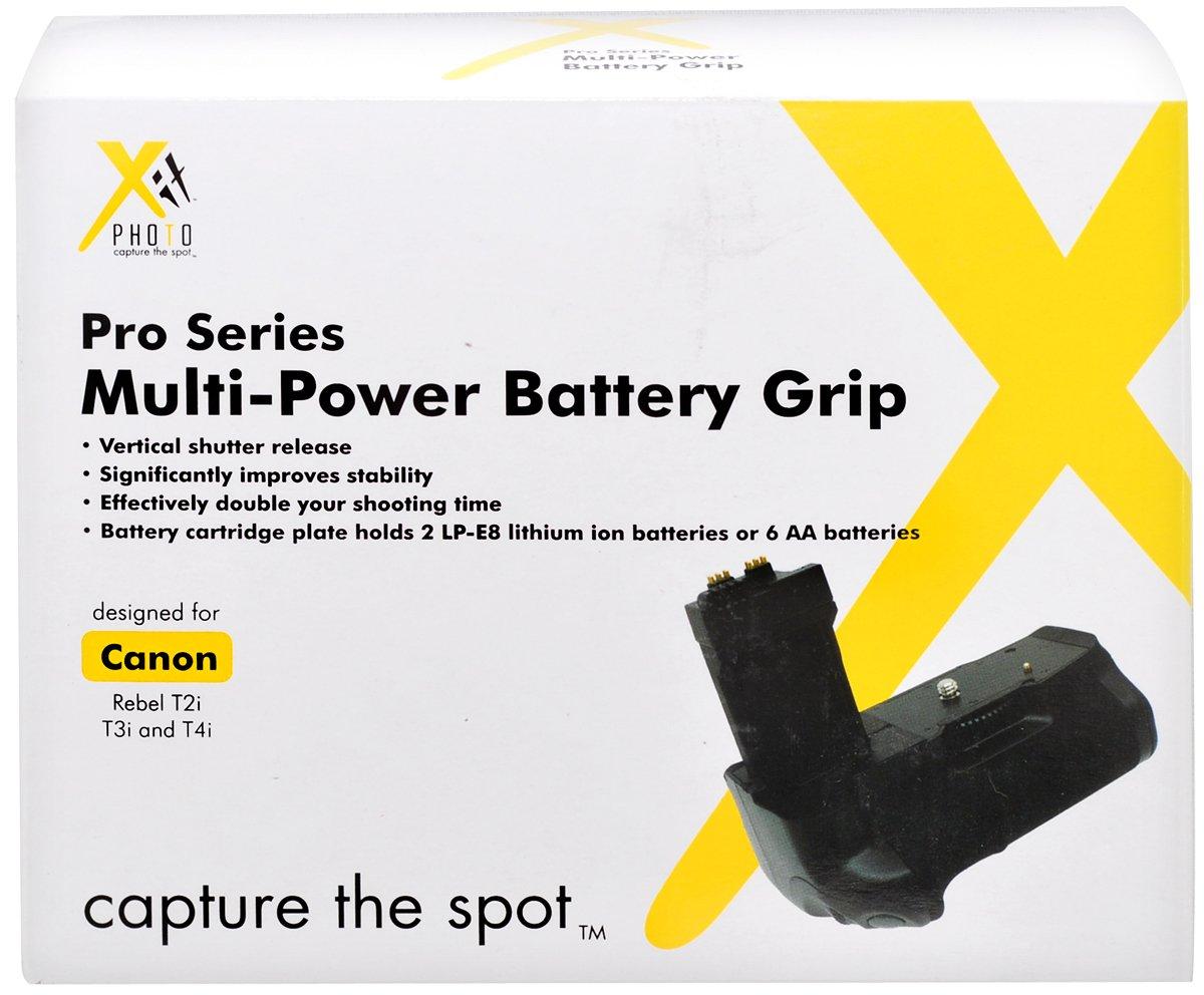 Xit XTCGT3i Pro Series Battery Power Grip for Canon Rebel T2i/T3i/T4i/T5i Digital SLR Cameras (BG-E8) (Black)