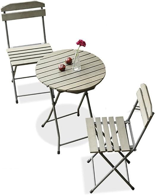YYHSND Balcón Muebles De Tres Piezas Mini Combinación Jardín Jardín Terraza Hierro Plegable Simple Ocio Al Aire Libre Pequeña Silla Mesa de té (Size : One Table+Two ...