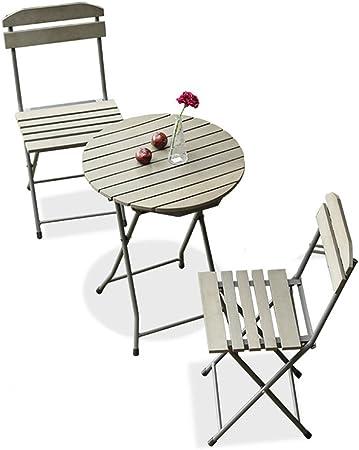 YYHSND Balcón Muebles De Tres Piezas Mini Combinación Jardín Jardín Terraza Hierro Plegable Simple Ocio Al Aire Libre Pequeña Silla Mesa de té (Size : One Table+Two Chairs): Amazon.es: Hogar