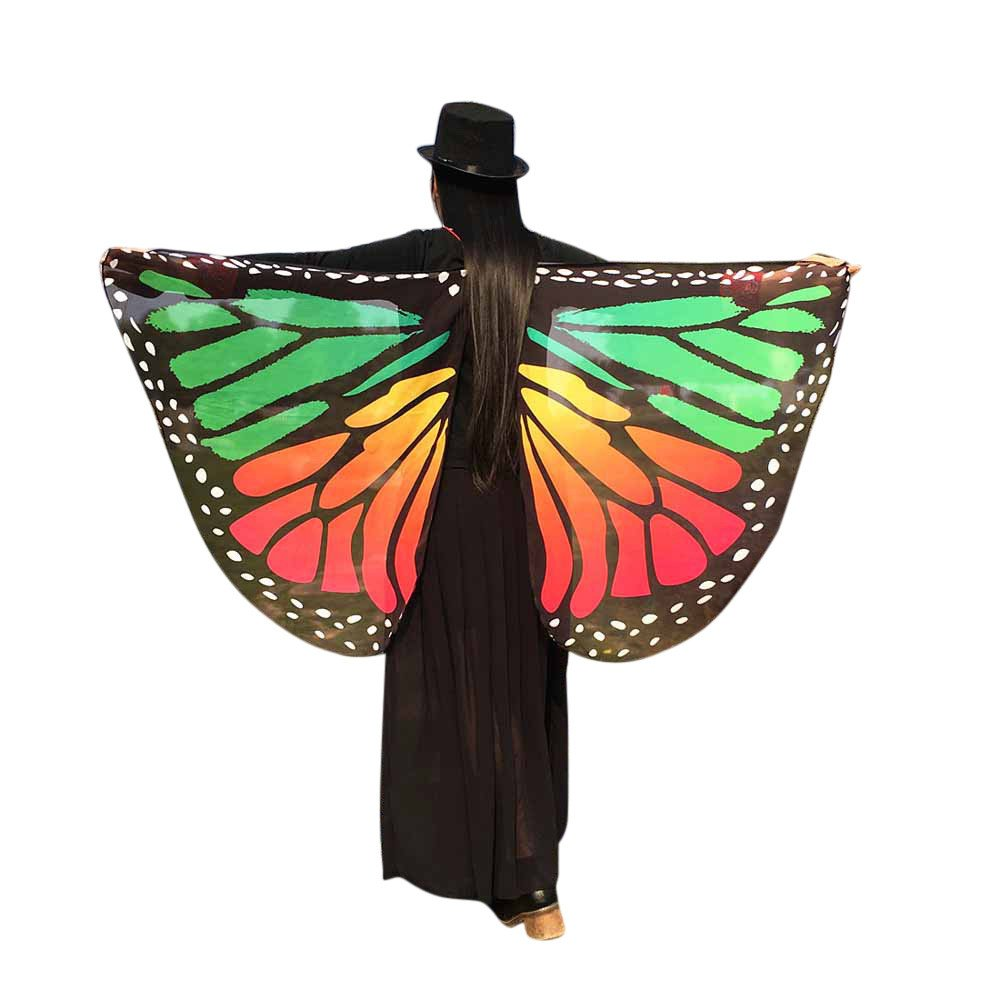 WOCACHI Vanlentine Day Halloween Costume Butterfly Wings Scarves, Women Cloak Cape Poncho Pixie Party Show Green