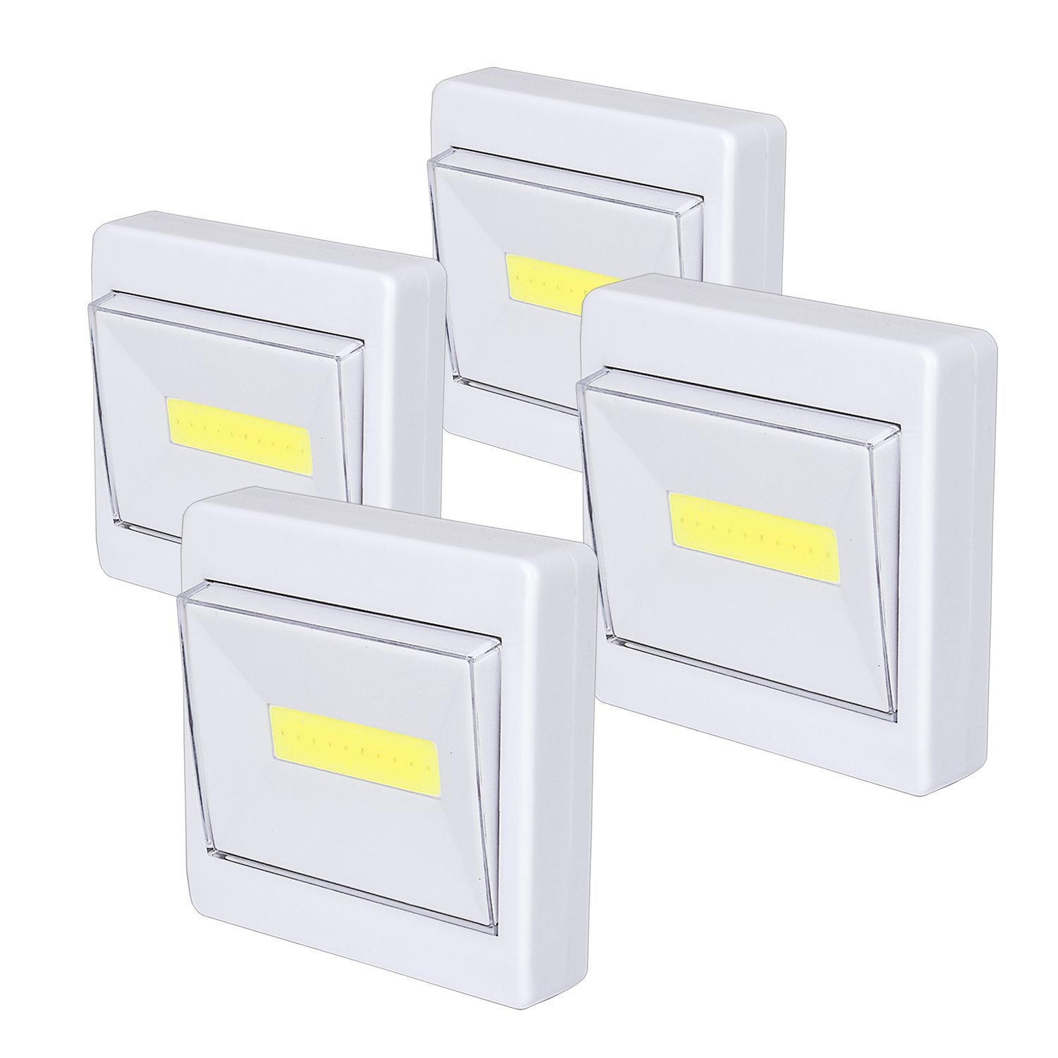 Closet light 200 LM Super Bright Switch Stick Anywhere COB Led Night Light Battery Operated for Shed Shelf Cabinet Garage Attic Emergency (4 pack)