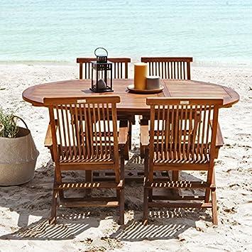 Salon de jardin en bois de teck huilé 4/8 personnes - table ovale ...