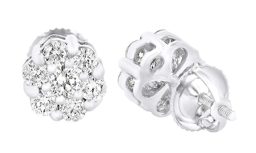 Runde Ohrstecker, mit Diamant in 14 Karat 585 Weißszlig;Gold, 1,3 Karat Gesamtgewicht 14 Karat (585) WeißGold