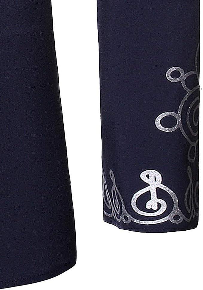Gusspower Hombre Camisa de Manga Larga con Estampado Africano Retro Camisetas Impresi/ón Nacional del Viento Bohemia Slim Fit B/ásico Vintage Top Blusa