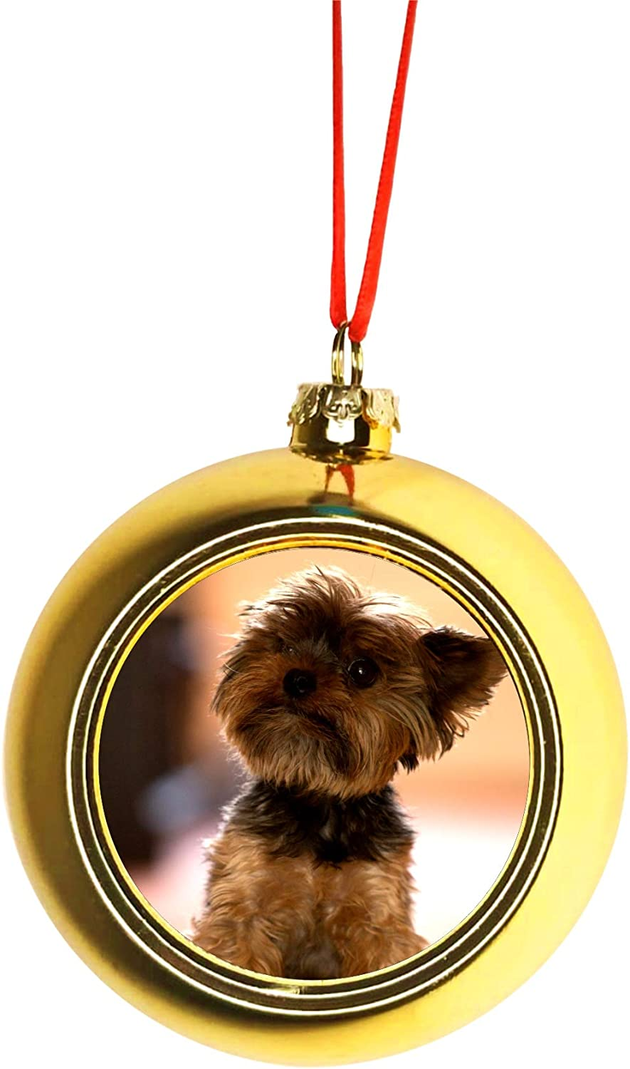 """HAND MADE YORKSHIRE TERRIER PUPPY DOG 3/"""" GLASS CHRISTMAS ORNAMENT//BALL"""