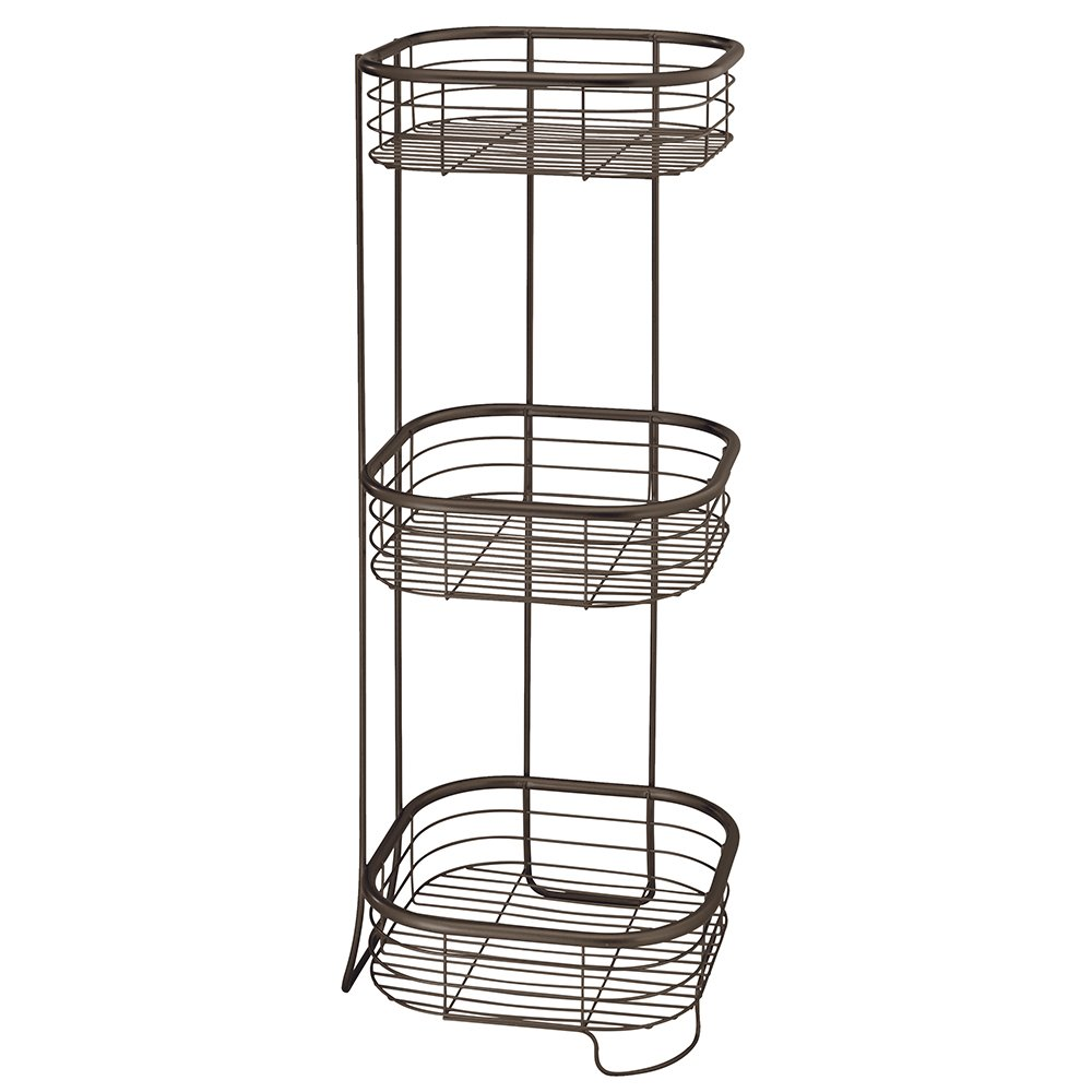 InterDesign Forma Free Standing Bathroom or Shower Storage Shelves for Towels, Soap, Shampoo, Lotion, Accessories - 3 Tier, Bronze
