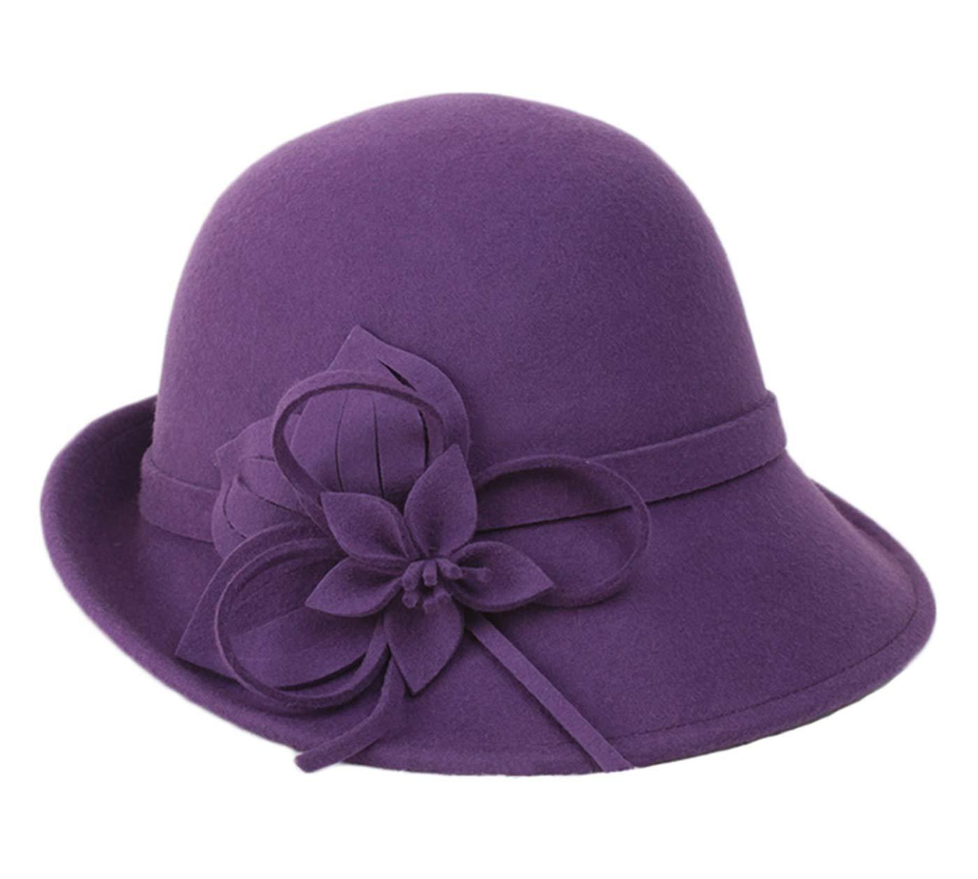 BAIMORE100% Wool Vintage Felt Cloche Bucket Bowler Hat Winter Women Church Bowler Hats