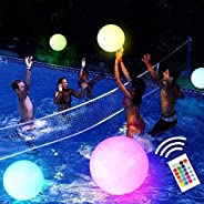Jabroyee 16 inch LED Glow Beach Ball, Glow in The Dark Volleyball with 16 Colors Changing LED Luminous Inflata