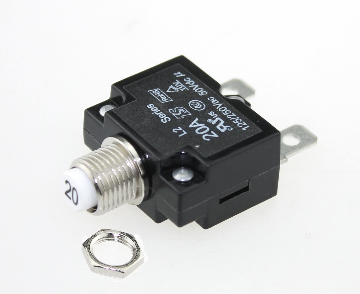 iztor Push Button Reset 20A Circuit Breakers with Quick Connect Terminals