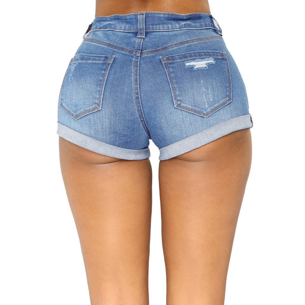Deep Blue,Light Blue,S-2XL MALLOOM Women High Waist Zipped Denim Skinny Fit Mini Shorts Jeans Pants