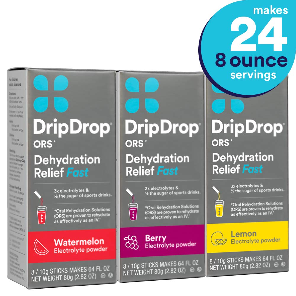 DripDrop Ors - Patented Electrolyte Powder for Dehydration Relief fast - For Hangover, Heat Exhaustion, Illness, Sweating, Watermelon, Berry, Lemon Flavor Variety 3 Pack, Makes (24) 8oz Servings by DripDrop