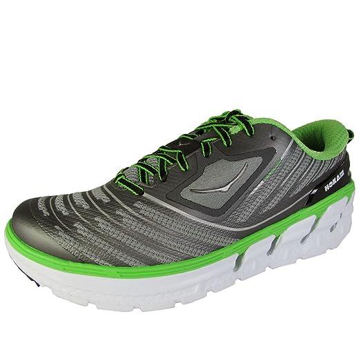 Hoka One One Mens Vanquish Running Sneaker Shoe, Grey/Green Flash, US 9.5