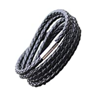The Jewelbox® Stylish Rope Braided 100% Genuine Handcrafted Black Leather Wrist Band Strand Bracelet Unisex