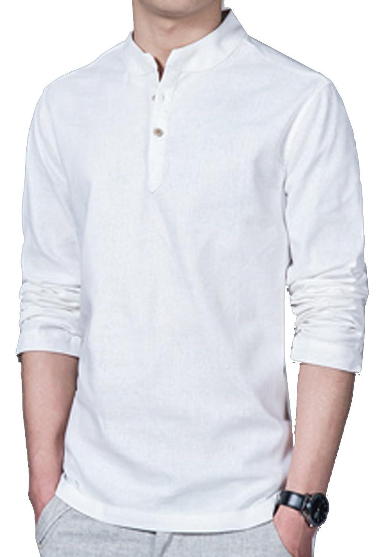 SWORLD Men's Linen Stand Collar Long Sleeves Various Colors Henry shirt
