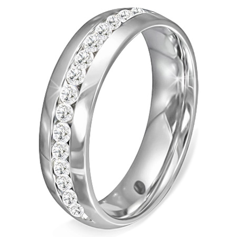 My Daily Styles Stainless Steel Silver-Tone White Clear CZ Anniversary Wedding Ring Band