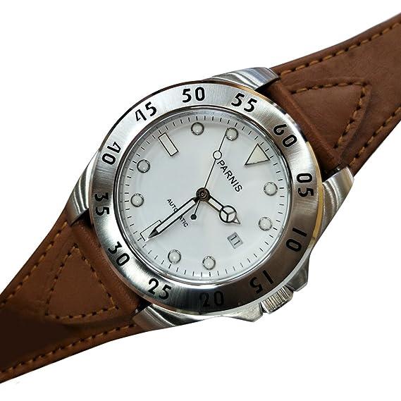 PARNIS 42 mm Japón 8215 - Reloj automático hombres 316L acero inoxidable caso Dial de color blanco: Amazon.es: Relojes