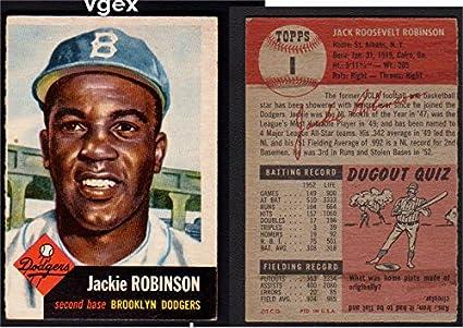 1953 Topps Regular Baseball Card 1 Jackie Robinson Of The