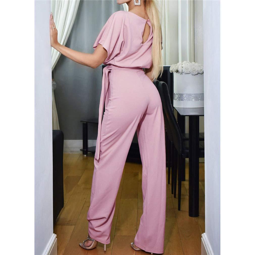 HongHu Women Casual Loose Short Sleeve Belted Wide Leg Pant Romper Jumpsuits