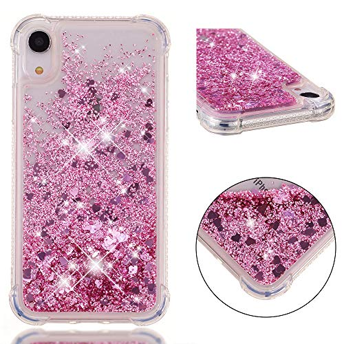 iPhone XR Case, ZERMU Shockproof Clear Colorful Heart Pattern Waterfall Fushion Moving Liquid Sparkling TPU Bumper Luxury Bling Quicksand Flowing Floating Glitter Cover for iPhone XR 6.1 inch 2018
