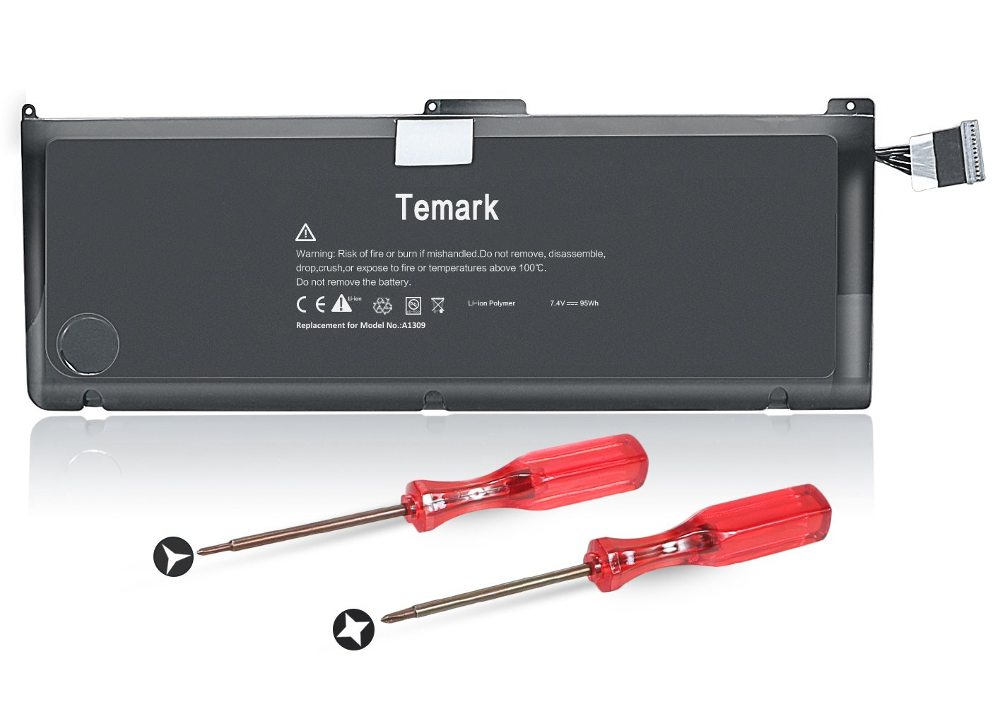 Temark New A1309 Laptop Battery for MacBook Pro 17'' A1297 (Only fit Early 2009 Mid-2009 Mid-2010 Version), fit MC226/A MC226CH/A MC226J/A 020-6313-C 661-5037-A