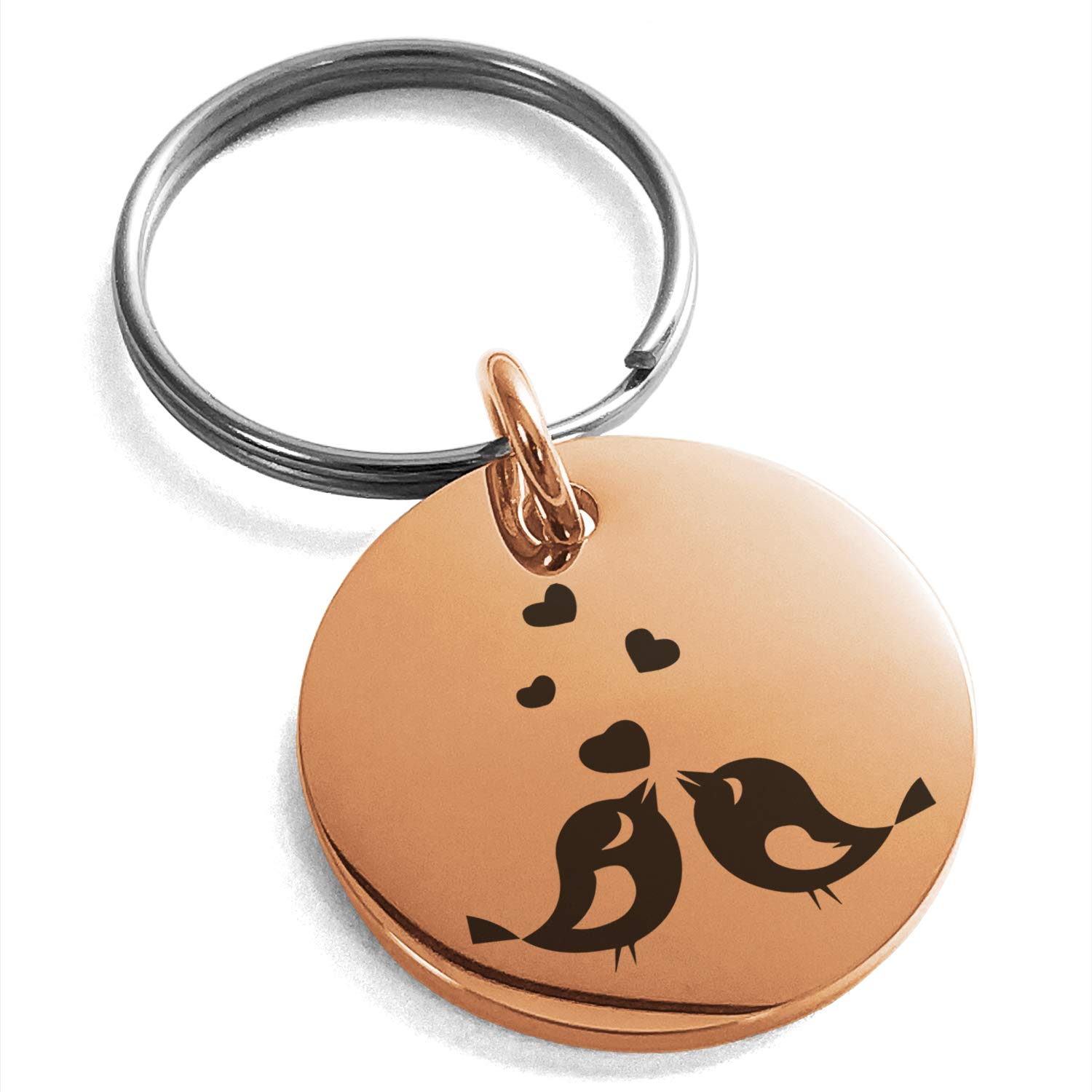Tioneer Rose Gold Plated Stainless Steel Lovebirds Heart Engraved Small Medallion Circle Charm Keychain Keyring by Tioneer (Image #1)
