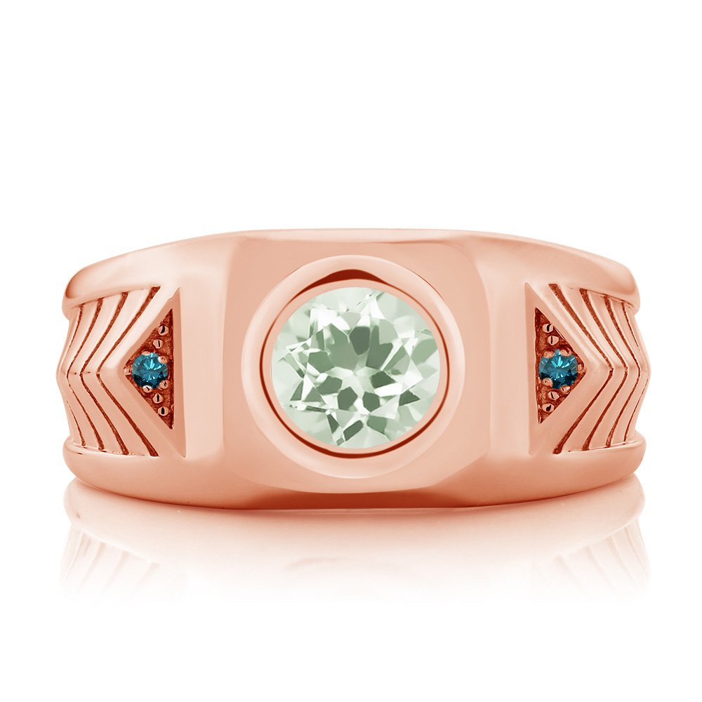 Gem Stone King 1.53 Ct Green Prasiolite and Blue Diamond 18K Rose Gold Plated Silver Mens Ring