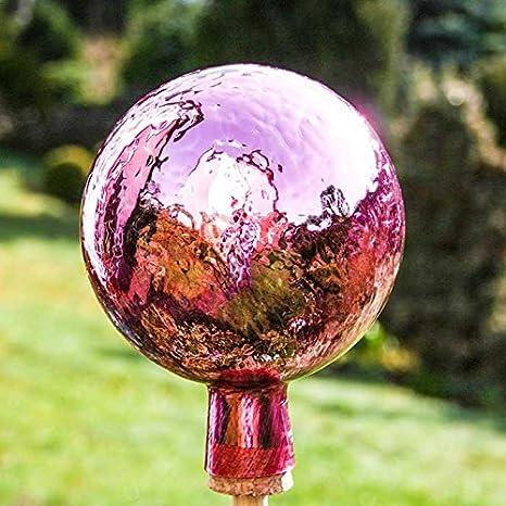 Lauschaer Glaskunst-Gartendeko Th/üringer Rosenkugel 15 cm Violett Craquelet