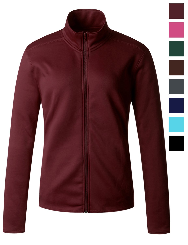 Regna X Womens Plus Size Furry Warm Full Zip up Fleece Jacket Red XL X-Large