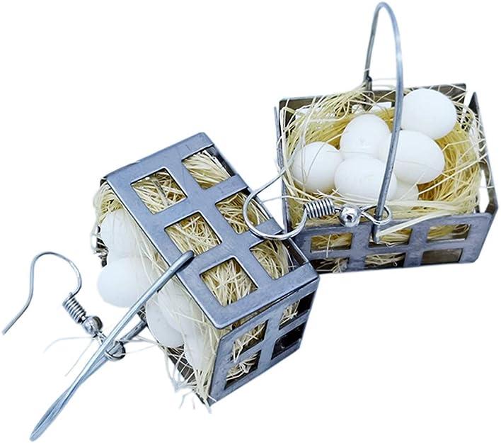 Mini Egg Basket Dangle Earrings, Creative Hand-made Sterling Silver Gift Idea