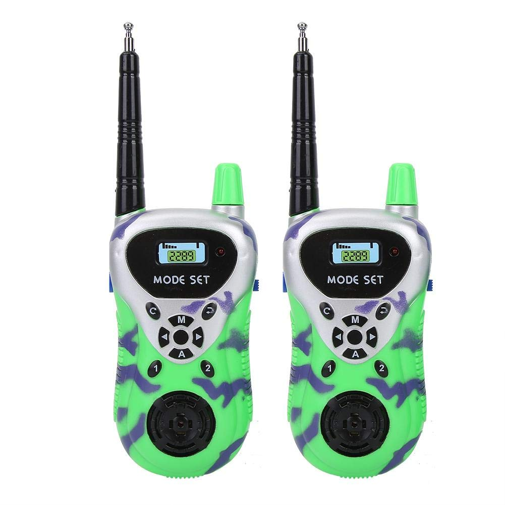 Green Kids Walkie Talkies Toy 2pcs Mini Children Walkie Talkies Electronic Radio Interphone Kids Outdoor Toy Gift for Kids Children