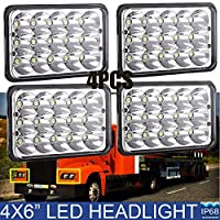 4X6 LED Headlights For Trucks Kenworth Peterbilt 378 357 379 - Rectangular Square Clear Sealed Beam H4651/H4642/H4652/H4656/H4666/H4668/H6545 Headlamp Bulb Replacement Package of 4