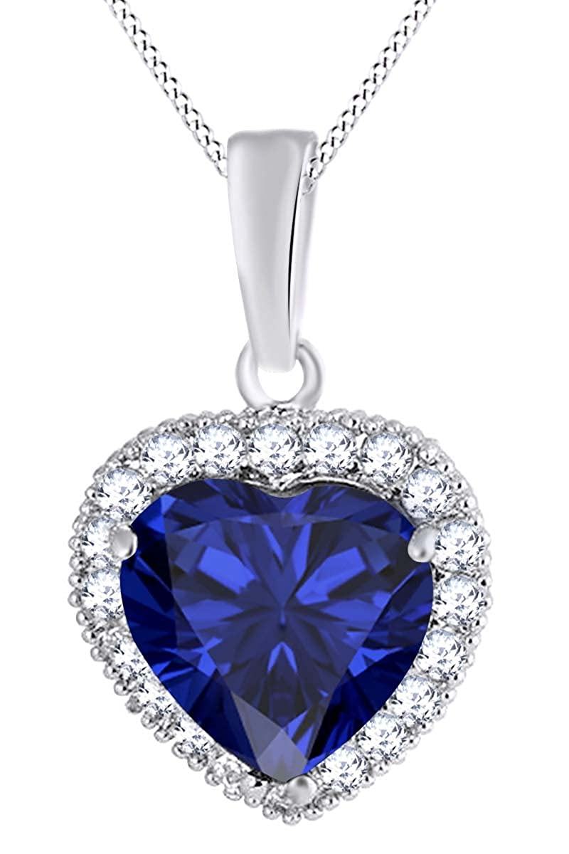 AFFY 14k Gold Over Sterling Silver Simulated Blue Sapphire /& White CZ Heart Pendant Necklace