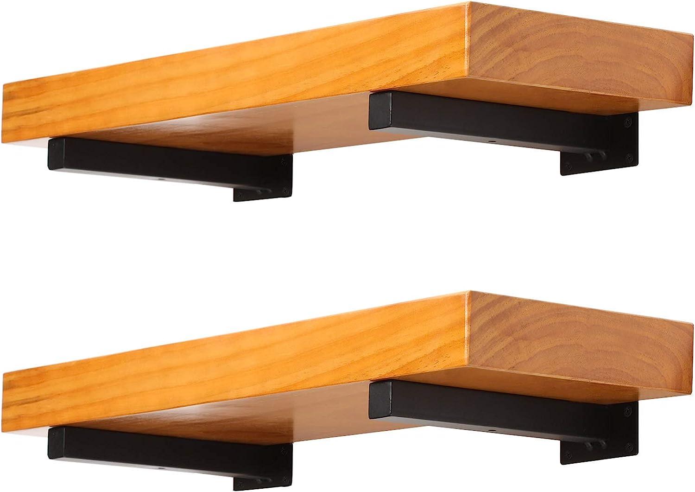 4 Pack Heavy Duty Floating Shelf Brackets 8 Inch Wall Mounted Industrial Metal Brackets for Shelves