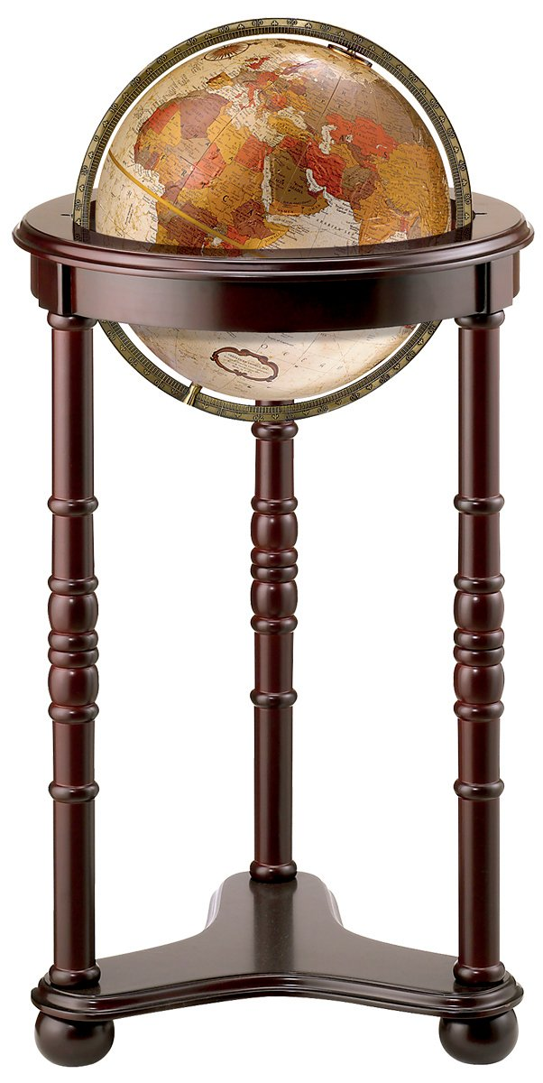 Replogle Lancaster—Bronze Metallic, Dark Cherry Wood Finish, Floor Model Globe, Perfect for Anyone Looking for a Elegant Floor Standing Globe That Fits Small Spaces (12''/30 cm diameter)