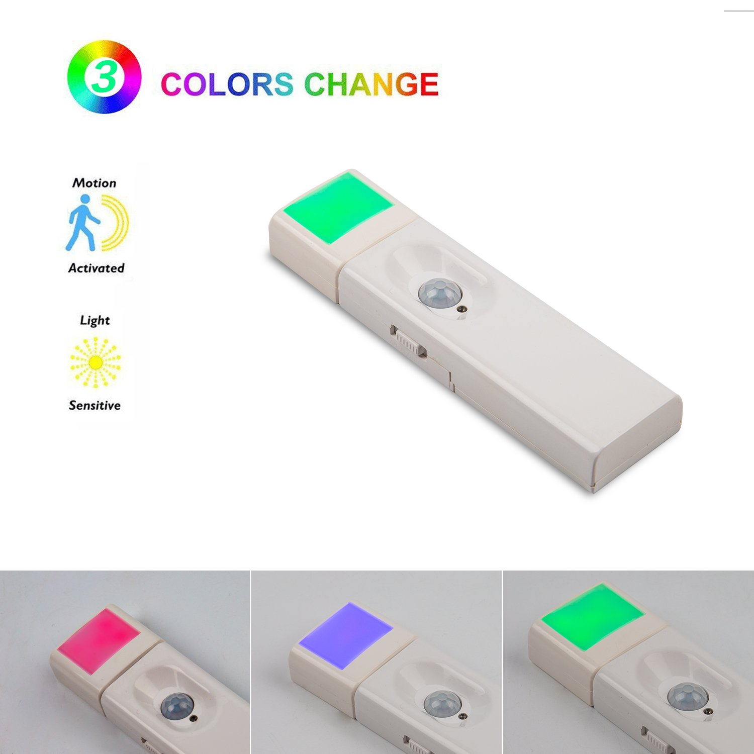 Aokairuisi Motion Sensor Night Light Battery Operated Stick-on Anywhere 3 Color Wall Light for Bedroom,Stair,Hallway,Garage,Baby Room,Entrance