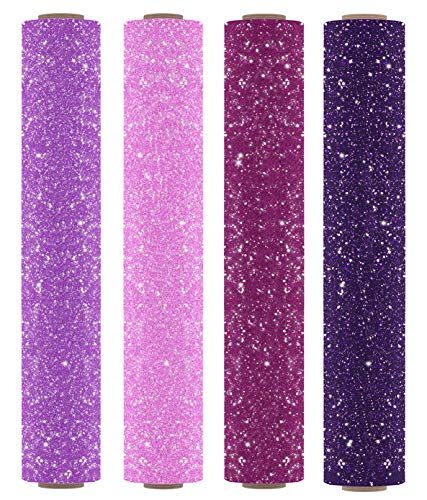 "Firefly Craft Glitter Heat Transfer Vinyl Bundle | Princess Glitter HTV Vinyl Bundle | Glitter Iron On Vinyl for Cricut and Silhouette | Pack of 4 Rolls - 12"" x 20"" Each"