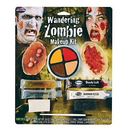 Fun World Unisex-Adults Wandering Zombie Makeup Kit Costume Appliance Accessory, Multi, Standard -