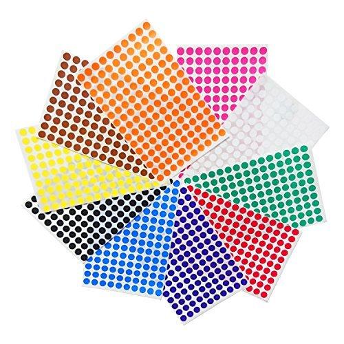 1cm Colour Coding Labels - 10 colours, 3000 labels