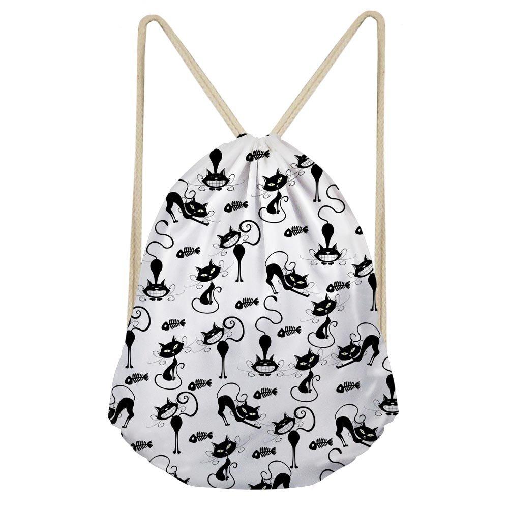 LedBack Cat Drawstring Gym Bag for Women Girls Slim Travel Workout Storage Pouch